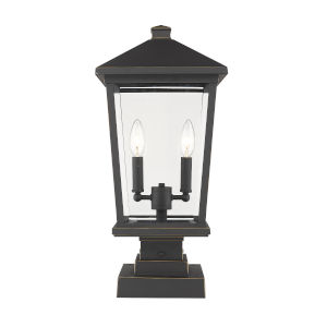 Beacon Oil Rubbed Bronze Two-Light Outdoor Pier Mounted Fixture With Transparent Beveled Glass