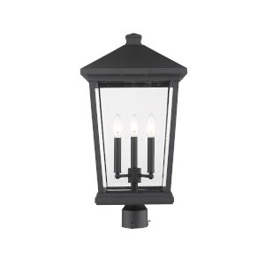 Beacon Black Three-Light Outdoor Post Mounted Fixture With Transparent Beveled Glass
