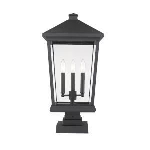 Beacon Black Three-Light Outdoor Pier Mounted Fixture With Transparent Beveled Glass