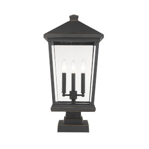 Beacon Oil Rubbed Bronze Three-Light Outdoor Pier Mounted Fixture With Transparent Beveled Glass