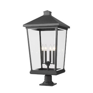 Beacon Black 33-Inch Three-Light Outdoor Pier Mount