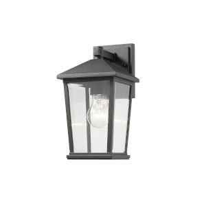 Beacon Black One-Light Outdoor Wall Sconce With Transparent Beveled Glass