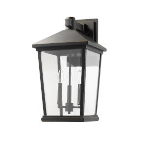Beacon Oil Rubbed Bronze Three-Light Outdoor Wall Sconce With Transparent Beveled Glass