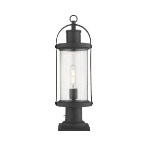 Roundhouse Black One-Light Outdoor Pier Mounted Fixture With Transparent Seedy Glass