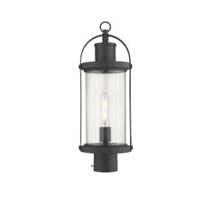 Roundhouse Black One-Light Outdoor Post Mounted Fixture With Transparent Seedy Glass