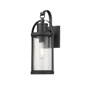 Roundhouse Black One-Light Outdoor Wall Sconce With Transparent Seedy Glass