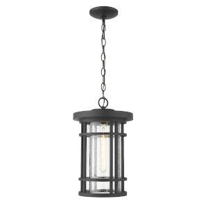Jordan Black One-Light Outdoor Pendant With Transparent Seedy Glass