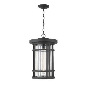 Jordan Black One-Light Outdoor Pendant With Transparent Seedy Glass