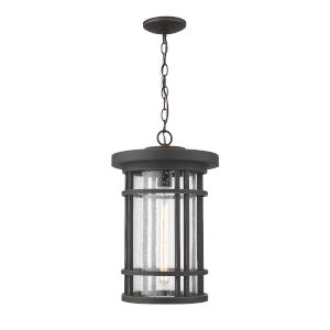 Jordan Oil Rubbed Bronze One-Light Outdoor Pendant With Transparent Seedy Glass