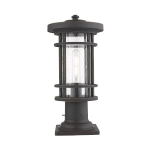 Jordan Oil Rubbed Bronze One-Light Outdoor Pier Mounted Fixture With Transparent Seedy Glass