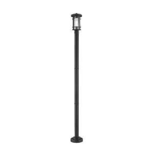 Jordan Black One-Light Outdoor Post Mounted Fixture With Transparent Seedy Glass