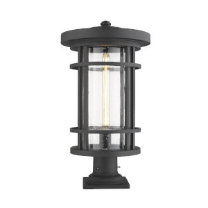 Jordan Black One-Light Outdoor Pier Mounted Fixture With Transparent Seedy Glass