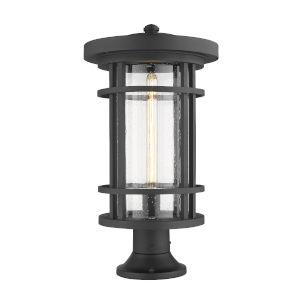 Jordan Black One-Light Outdoor Pier Mounted Fixture With Transparent Seedy Glass
