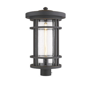 Jordan Oil Rubbed Bronze One-Light Outdoor Post Mounted Fixture With Transparent Seedy Glass