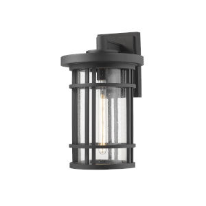 Jordan Black One-Light Outdoor Wall Sconce With Transparent Seedy Glass