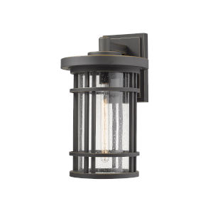 Jordan Oil Rubbed Bronze One-Light Outdoor Wall Sconce With Transparent Seedy Glass