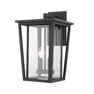 Seoul Black Two-Light Outdoor Wall Sconce With Transparent Glass