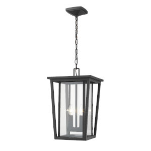 Seoul Black Two-Light Outdoor Pendant With Transparent Glass