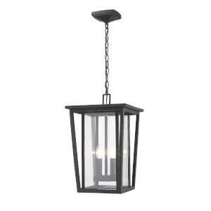 Seoul Oil Rubbed Bronze Two-Light Outdoor Pendant With Transparent Glass