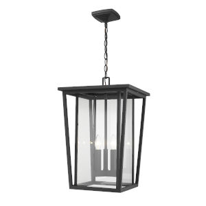 Seoul Black Three-Light Outdoor Pendant With Transparent Glass