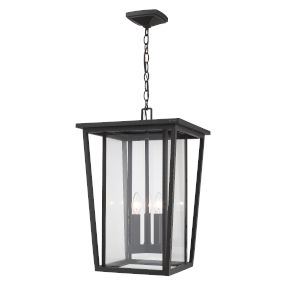 Seoul Oil Rubbed Bronze Three-Light Outdoor Pendant With Transparent Glass