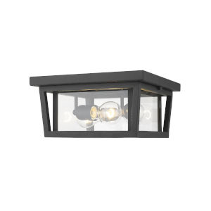 Seoul Black Three-Light Outdoor Flush Ceiling Mount Fixture With Transparent Glass