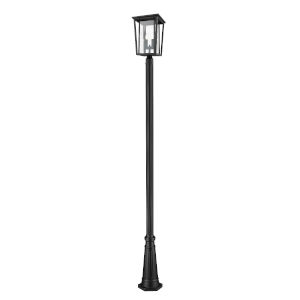 Seoul Black Two-Light Outdoor Post Mounted Fixture With Transparent Glass