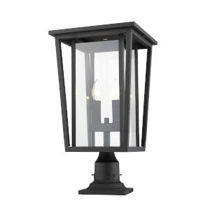 Seoul Black Two-Light Outdoor Pier Mounted Fixture With Transparent Glass