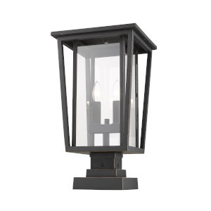 Seoul Oil Rubbed Bronze Two-Light Outdoor Pier Mounted Fixture With Transparent Glass