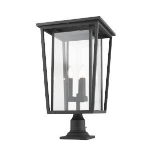 Seoul Black Three-Light Outdoor Pier Mounted Fixture With Transparent Glass