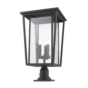 Seoul Oil Rubbed Bronze Three-Light Outdoor Pier Mounted Fixture With Transparent Glass