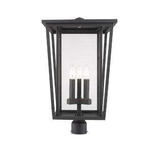 Seoul Oil Rubbed Bronze Three-Light Outdoor Post Mounted Fixture With Transparent Glass
