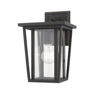 Seoul Oil Rubbed Bronze One-Light Outdoor Wall Sconce With Transparent Glass