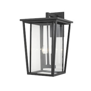 Seoul Black Three-Light Outdoor Wall Sconce With Transparent Glass