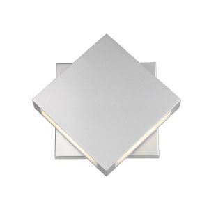 Quadrate Silver LED Two-Light Outdoor Wall Sconce With Sand-blast Glass