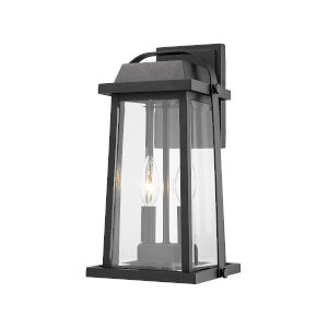 Millworks Black Two-Light Outdoor Wall Sconce With Transparent Beveled Glass