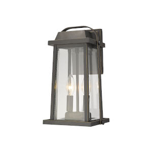 Millworks Oil Rubbed Bronze Two-Light Outdoor Wall Sconce With Transparent Beveled Glass