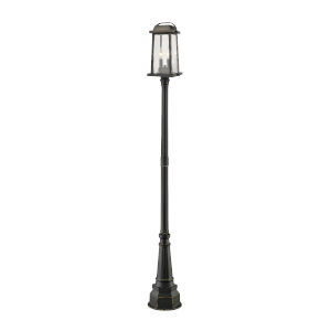 Millworks Oil Rubbed Bronze Two-Light Outdoor Post Mounted Fixture With Transparent Beveled Glass