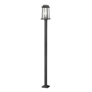 Millworks Black Two-Light Outdoor Post Mounted Fixture With Transparent Beveled Glass