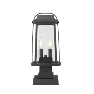 Millworks Black Two-Light Outdoor Pier Mounted Fixture With Transparent Beveled Glass