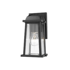 Millworks Black One-Light Outdoor Wall Sconce With Transparent Beveled Glass