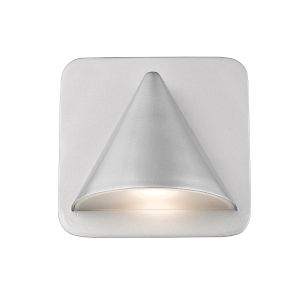 Obelisk Silver LED One-Light Outdoor Wall Sconce With Sand-blast glass