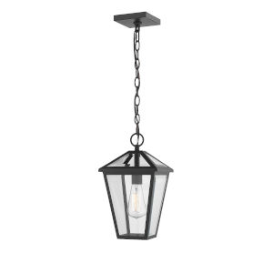 Talbot Black One-Light Outdoor Chain Mount Ceiling Fixture Chandelier with Transparent Bevelled Glass