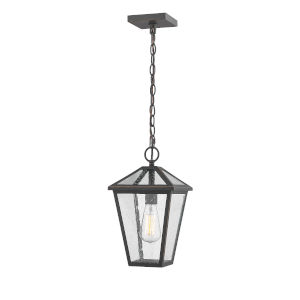 Talbot Rubbed Bronze One-Light Outdoor Chain Mount Ceiling Fixture Chandelier with Seedy Glass