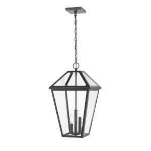 Talbot Black Three-Light Outdoor Chain Mount Ceiling Fixture Chandelier with Transparent Bevelled Glass