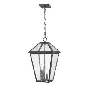 Talbot Rubbed Bronze Three-Light Outdoor Chain Mount Ceiling Fixture Chandelier with Seedy Glass
