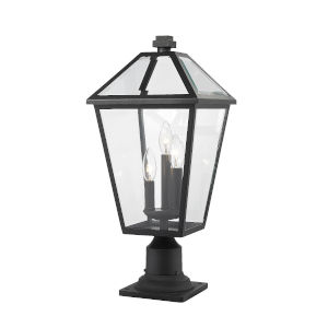 Talbot Black Three-Light Outdoor Pier Mounted Fixture with Transparent Bevelled Glass