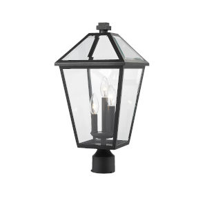 Talbot Black Three-Light Outdoor Post Mount Fixture with Transparent Bevelled Glass