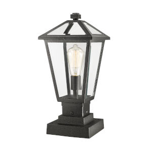 Talbot Black One-Light Outdoor Pier Mounted Fixture with Transparent Bevelled Glass
