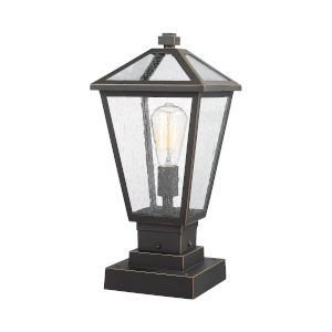 Talbot Rubbed Bronze One-Light Outdoor Pier Mounted Fixture with Seedy Glass